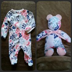 Keepsake Bear Memory Bear Teddy Bear Made from by SewnbyHannah Old Baby Clothes, Sewing Clothes, Baby Clothes Quilt, Baby Kind, Baby Love, Diy Bebe, Diy Upcycling, Repurposing, Baby Sleepers