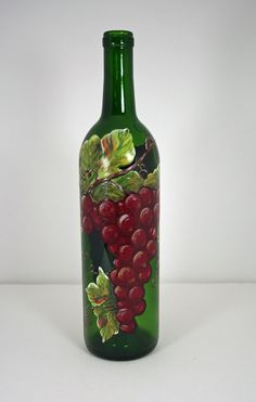 Hand Painted Grapes on Wine Bottle by ShortHenStudio on Etsy