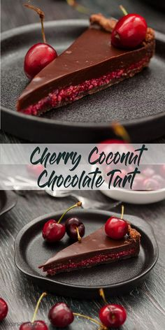 Cherry Coconut Chocolate Tart by Sugar Salt Magic. A luscious layer of fresh cherry and coconut combine in a chocolate pastry shell, smothered in creamy chocolate ganache. via @sugarsaltmagic