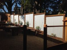 Fence Made Of Corrugated Iron And Gabione Photographed By Deresch Landscaping Dl