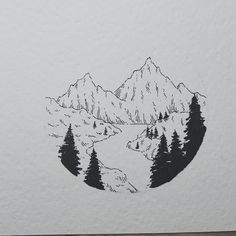 mountain drawing river drawings valley easy simple landscape sketch doodle nature sketches landscapes really instagram cool