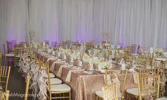 Camille & Rob's Travel Themed Wedding: Gold sequins, gold chiavari chairs, hydrangea floral runner,w edding reception decor