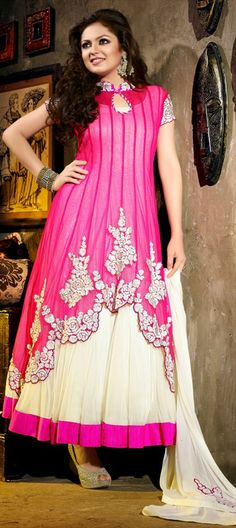 409120: Pink and Majenta, White and Off White color family semi-stiched Bollywood Salwar Kameez.