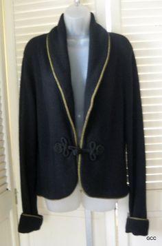 Ralph Lauren Cashmere Blend Gold Rope Shawl Collar Cardigan Sweater L #LaurenRalphLauren #Cardigan