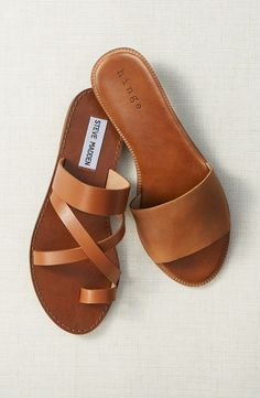 Free shipping and returns on Steve Madden 'Ambler' Sandal (Women) at Nordstrom.com. Smooth leather straps refine the vintage attitude of a minimalist slide sandal completed with a sleek toe loop.