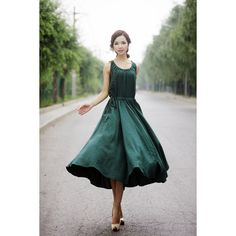 Maxi Summer Dress Emerald Green Long Sleeveless Fit & Flare Dress With... ($79) ❤ liked on Polyvore featuring dresses, grey, women's clothing, long cocktail dresses, chiffon maxi dress, long-sleeve fit and flare dresses, long evening dresses and long maxi dresses