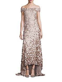 Theia Off-the-Shoulder High-Low Petal Gown - Champagne - Size