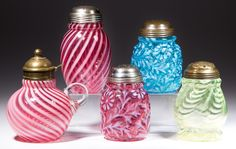 Sample of sugar shakers and syrup pitchers