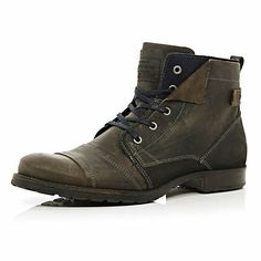 Grey casual lace up boots $90.00 river island