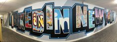 LinkedIn NY - Graffiti Artwork in New York City Office - Indoor Mural - Graffiti Artist For Hire Office Mural, Office Wall Art, Office Walls, Office Wall Paints, City Office, Graffiti Artwork, Horse Portrait, Environmental Graphics, Marvel Art