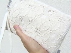 Lace clutch wedding gift pouch 2 pockets bridal by bagonebagshop, $16.00