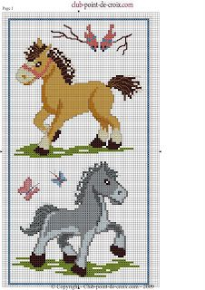 Cross-stitch Horses ... no color chart available, just use pattern chart as your color guide.. or choose your own colors...     ENCANTOS EM PONTO CRUZ: Animais