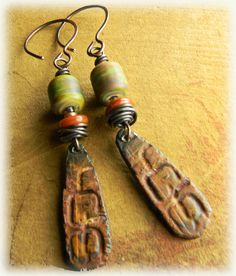 Raku Lampwork and Pewter Earrings by Gloria Ewing