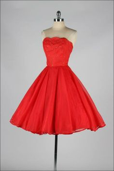 1950's Emma Domb Red Chiffon Rhinestone Dress