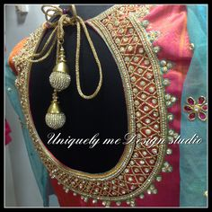 Uniquely me -Wedding Blouse designing & bridal tailoring In Chennai South Indian Blouse Designs, Silk Saree Blouse Designs, Saree Blouse Patterns, Bridal Blouse Designs, Blouse Neck Designs, Blouse Styles, Maggam Work Designs, Designer Blouse Patterns, Wedding Fabric