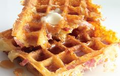 Ham-and-Cheese Waffles by bonappetit #Waffles #Ham #Cheese