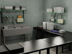 Prep area with Metro SmartWall G3 and tables. #metroshelving.net