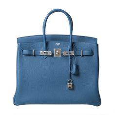 hermes bag replica - Preowned Hermes 35Cm Birkin Bag Blue Orage Palladium Hardware ...