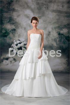 Robe de mariée A-ligne en satin décoration perlée bouton couvert 2014