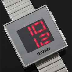 The XXL is clean and futuristic with light emitting diode (LED) display and a square, oversize face. It was purposefully designed with hours on top, minutes below and a classic stainless steel strap.  Check out what's on sale at TouchOfModern