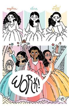 """The Schuyler Sisters"" - and other amazing Hamilton Musical artwork Hamilton Musical, Hamilton Soundtrack, Hamilton Broadway, Sarah J Maas, Overwatch, Hamilton Lin Manuel Miranda, Hamilton Peggy, Aaron Burr, And Peggy"