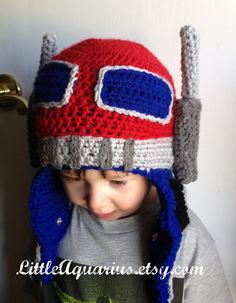 transformer robot Hat on etsy. My kid would LOVE this! Crochet Kids Hats 37d9c08f2bc