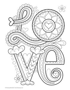 Color Love Coloring Book : Thaneeya McArdle by thecottageneedle Make your world more colorful with free printable coloring pages from italks. Our free coloring pages for adults and kids. Love Coloring Pages, Printable Adult Coloring Pages, Mandala Coloring Pages, Coloring Books, Valentine Coloring Pages, Doodle Drawings, Doodle Art, Zentangle Patterns, Embroidery Patterns