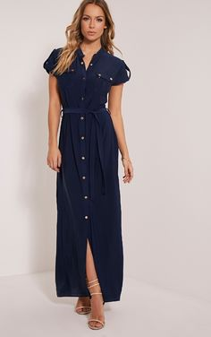 Larrie Navy Utility Maxi Dress