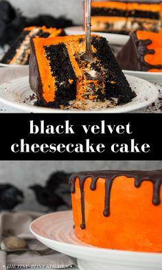 Black velvet cheesecake cake! Looking for a dessert for your Halloween party? Then you'll want this recipe! Easy chocolate cake layers made with a box of chocolate cake mix, homemade Oreo cheesecake, and vanilla buttercream frosting dyed bright orange--it's perfect for Halloween parties! Cookies And Cream Cheesecake, Cheesecake Cake, Cheesecake Recipes, Dessert Recipes, Baking Recipes, Easy Recipes, Healthy Recipes, Halloween Desserts, Halloween Cakes