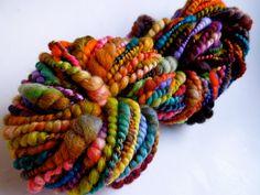 Patchwork Coils Handspun Art Yarn Coily Ply by RainbowTwistShop