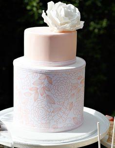 """Pretty Peach Cake! """"Sweet as a Peach"""" created by Amanda De Santis. Perfect for a bridal shower."""