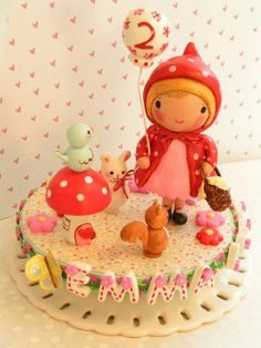 """Little Red Riding Hood"" cake topper (Etsy, $130). Just too cute! Maybe Sania's 2nd bday will be woodland-themed."