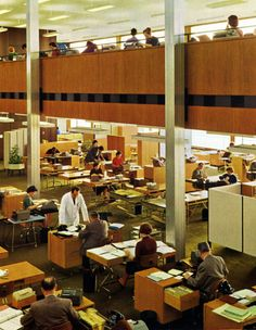 Office charm in the 60s: Bureau of the pharmaceutical company Boehringer Mannheim, 1958-60, photo © Quickborner Team