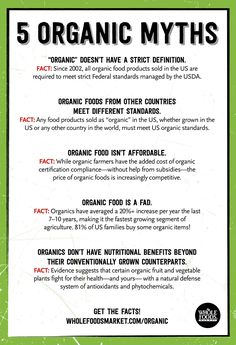 Some common misconceptions or myths about organic food.  -Organic dosen't have a strict definition - Organic foods from other countries meet different standards  - Organic food isn't affordable - Organic food is a FAD  - Organic dosen't have nutritional benefits beyond their conventionally grown counterparts What do you have to say??  Vedica Organics - For USDA certified, 100% #organic #food products  Website: www.vedicaorganics.com @wholefoodsmarket #myth #facts #vegan