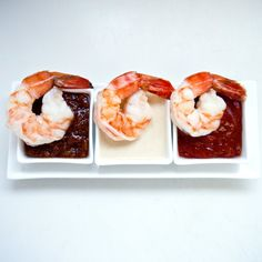 A trio of shrimp-cocktail dipping sauces — cocktail sauce, Thai peanut sauce, and pineapple barbecue sauce — ensures this classic isn't stale. Shrimp Dipping Sauce, Peanut Dipping Sauces, Thai Peanut Sauce, Shrimp Recipes, Appetizer Recipes, Appetizers, Small Food Processor, Food Processor Recipes, Smoked Shrimp