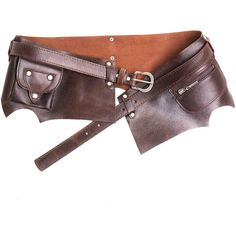 Brown Steampunk Belt with Pockets | Crazyinlove International (220 RON) ❤ liked on Polyvore featuring accessories, belts and steampunk belt