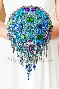 Teardrop Peacock Wedding Brooch Bouquet - Luxury, Signature Collection - Cascade Peacock Brooch Bouquet incrusted with Cubic Zirconia and Swarovski crystals   Glam, Bling Bouquet for your Luxury Weddi