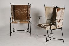 PR WROUGHT IRON COWHIDE UPHOLSTERED ARM CHAIRS