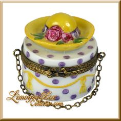 Hat Box with Yellow Hat Limoges Box - $199.00