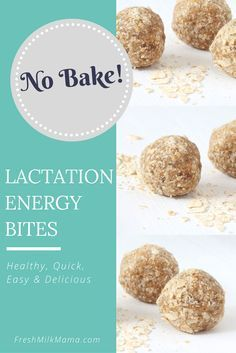 No bake lactation energy bites. These energy balls are perfect for breastfeeding and nursing moms to maintain and boost milk supply. They include galactagogues like oats and brewer's yeast. From FreshMilkMama.com