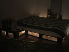 DIY Family Sized Palet Bed #woodworking #home #bedroom #lighting #furniture