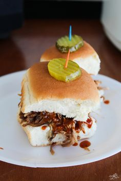 These BBQ Pork Sliders are served with a sweet heat homemade Tiger Sauce and of course, a signature dill pickle. Your Auburn Tailgate will be the ultimate party zone on Saturday. Wrap Recipes, Side Dish Recipes, Pork Recipes, Snack Recipes, Yummy Recipes, Slider Recipes, Amazing Recipes, A Food, Good Food