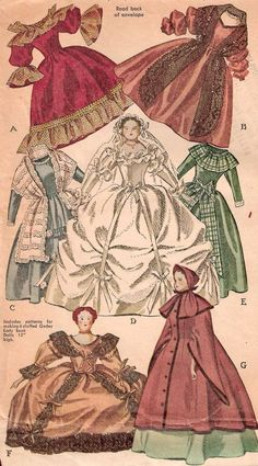 Godey Lady Book Doll & Eight Dress PATTERNS French Empire Tea Gown Bridal Gown