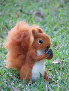 Needle felted red squirrel by Made4uByMagic on Etsy, $120.00