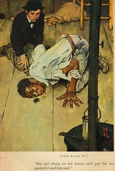 Rockwell illustration from Huckleberry Finn Norman Rockwell