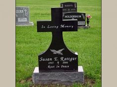 Cross Upright Headstone and Monument with Jet Black Granite