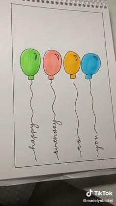 Bff Birthday Gift, Happy Birthday Cards, Teacher Birthday Card, Creative Birthday Cards, Handmade Birthday Cards, Diy Crafts For Gifts, Paper Crafts, Birthday Card Drawing, Happy Birthday Drawings