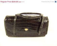 50% Off Summer Clearance Vintage 60s Koret Black Genuine Reptile Handbag Clutch Purse Oblong