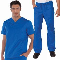 White Koi Men's Set in Royal Blue consist of Set Consists of Koi Jason Top with a Henley neckline, plenty of pockets: 2 side, 1 sleeve and 1 chest. And Koi James Trousers that has a zip-fly drawstring close, an elasticated waistband, deep pockets and adjustable hem. £54.99 #dentalscrub #scrubset #malescrub #uniforms #medicaluniform #scrubs #blueuniform