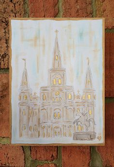 New Orleans St. Louis Cathedral Painted Canvas or Slate Painted Slate, Painted Canvas, Pelican Drawing, Silver Metallic Paint, St Louis Cathedral, Girls Night Crafts, Art Texture, Map Quilt, New Orleans Art